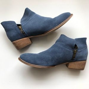 Seychelles Blue Suede Snare Booties
